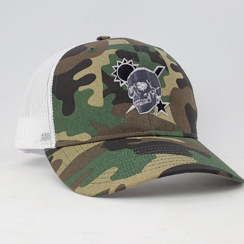Hat - Scroll Skull DUI Richardson Woodland Trucker