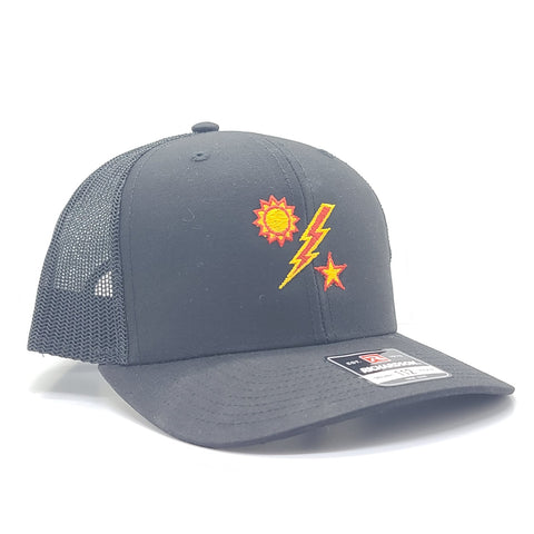Hat - Richardson Black 112 Red and Yellow 75th Outline