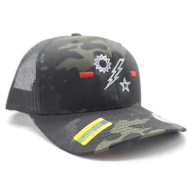 1st Ranger Bn Tick Multicam Black Trucker
