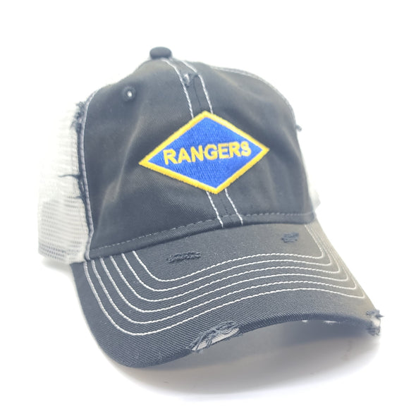 Hat - Rangers WWII Black Weathered Trucker
