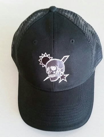 Hat - Scroll Skull DUI - Black Trucker