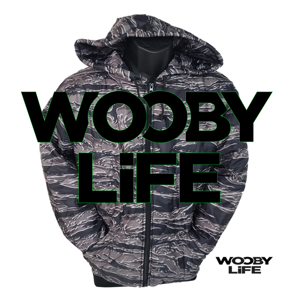 Wooby Life - Black Tiger Stripes Zipper Hoodie