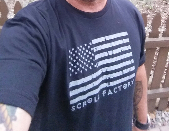 American Flag Scroll Factory Shirt