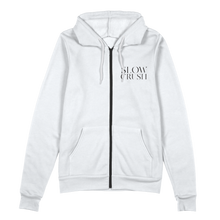 Load image into Gallery viewer, Slow Crush - White Zip-Up Hoodie (Pre-Order)