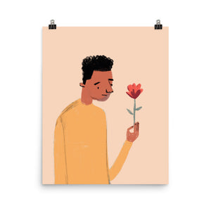 Sad Boy with Flower - Art Print