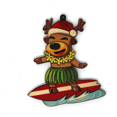 REINDEER SURFING ORNAMENT