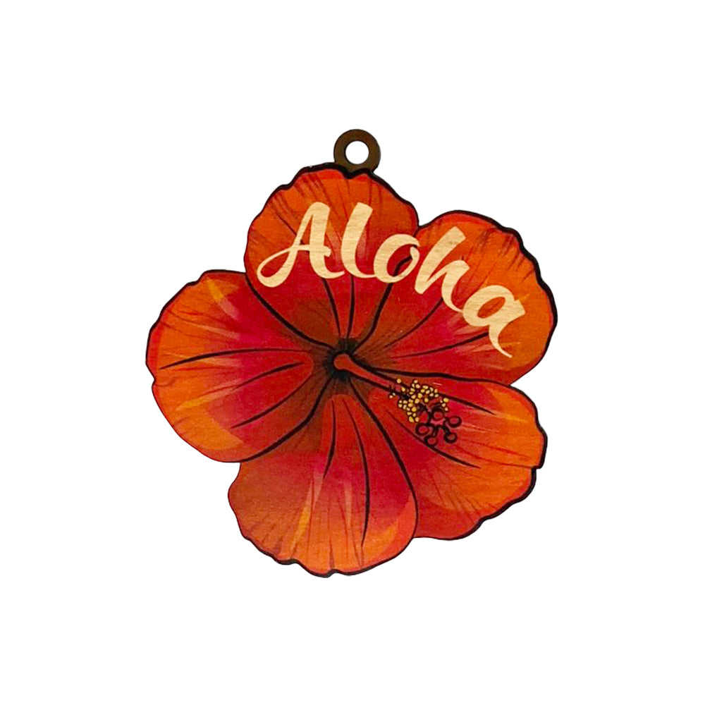 RED HIBISCUS ALOHA ORNAMENT