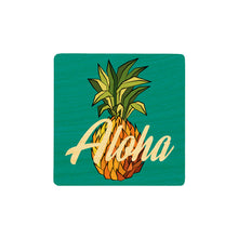 Load image into Gallery viewer, ALOHA PINEAPPLE WOOD COASTER SET