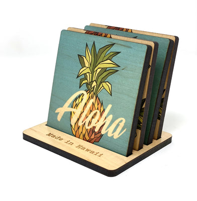 ALOHA PINEAPPLE WOOD COASTER SET