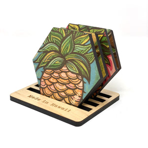 PINEAPPLE HEX COASTER SET