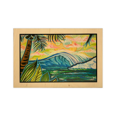 PALM AND WAVE 10X15 WOOD ART