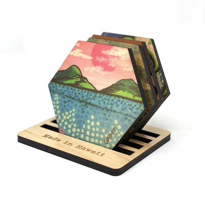 WAVES & MOUNTAINS HEX COASTER SET