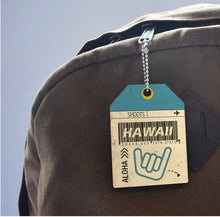 Load image into Gallery viewer, HAWAII BARCODE TAPERED WOOD BAGTAG