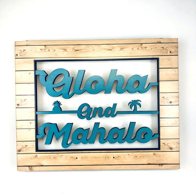 ALOHA MAHALO BEACHWD 8X10 CO WORD ART