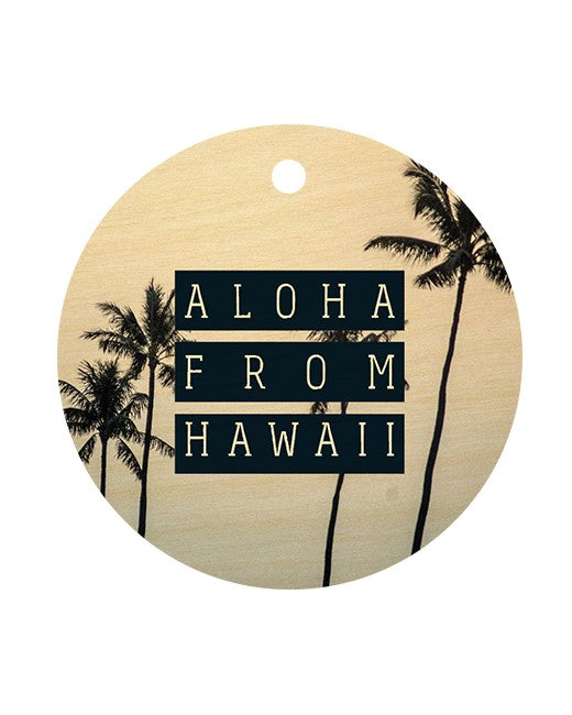 ALOHA FROM HI PALM CIRCLE BAG TAG