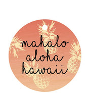 Load image into Gallery viewer, MAHALO ALOHA HI PINK PINEAPPLE CIRCLE BAGTAG