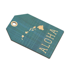 TEAL ALOHA ISLANDS TAPERED WOOD BAGTAG
