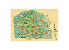 Load image into Gallery viewer, OAHU WATERCOLOR MAP POSTCARD