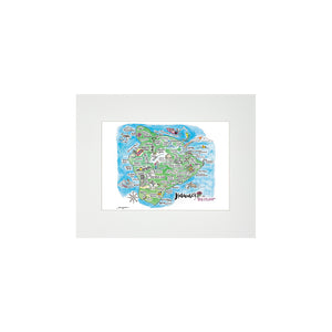 BIG ISLAND WATERCOLOR MAP MATTED PRINT