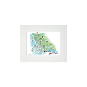 LEEWARD WATERCOLOR MAP MATTED PRINT