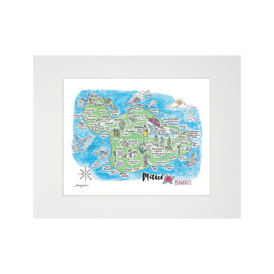 MAUI WATERCOLOR MAP MATTED PRINT