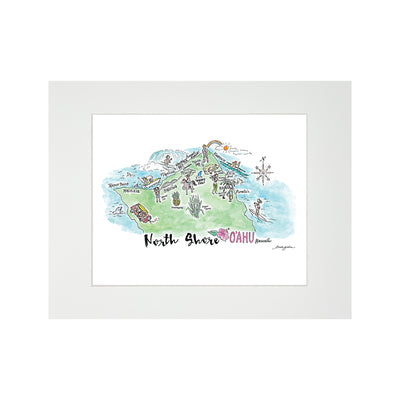 NORTH SHORE WATERCOLOR MAP MATTED PRINT