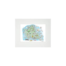 Load image into Gallery viewer, OAHU WATERCOLOR MAP MATTED PRINT