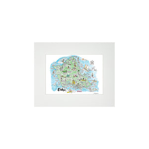 OAHU WATERCOLOR MAP MATTED PRINT