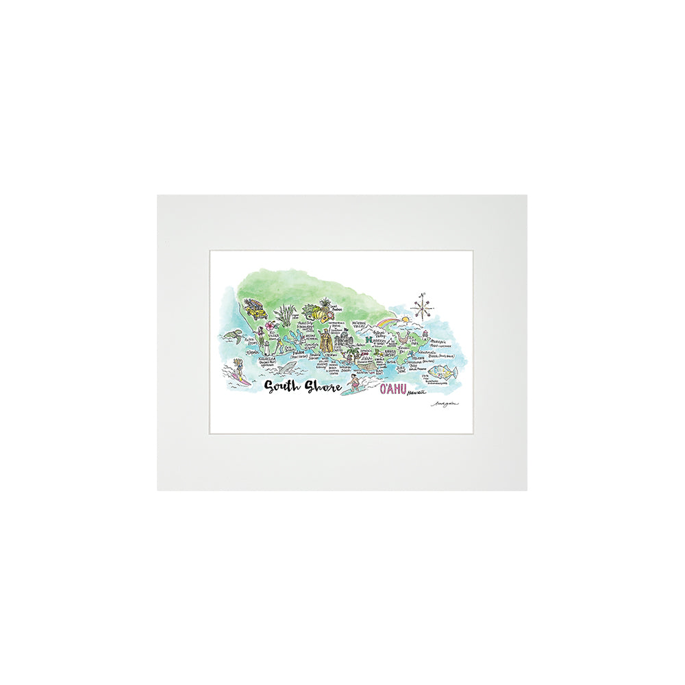 SOUTH SHORE WATERCOLOR MAP MATTED PRINT