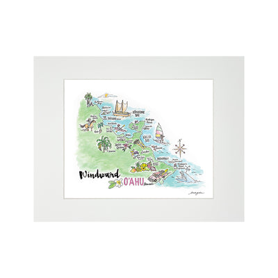 WINDWARD WATERCOLOR MAP MATTED PRINT