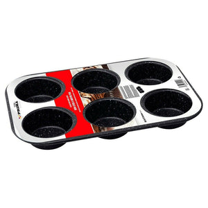 Prima Non Stick Speckled Black Carbon Steel 6 Muffin Pan