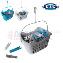 Load image into Gallery viewer, DLUX 50 Clothes Pegs with Hanging Basket