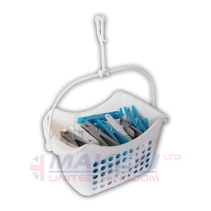 DLUX 50 Clothes Pegs with Hanging Basket