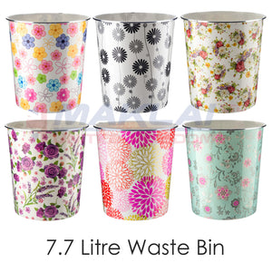 Home Plus 7.7L Floral Plastic Waste Paper Dust Bin