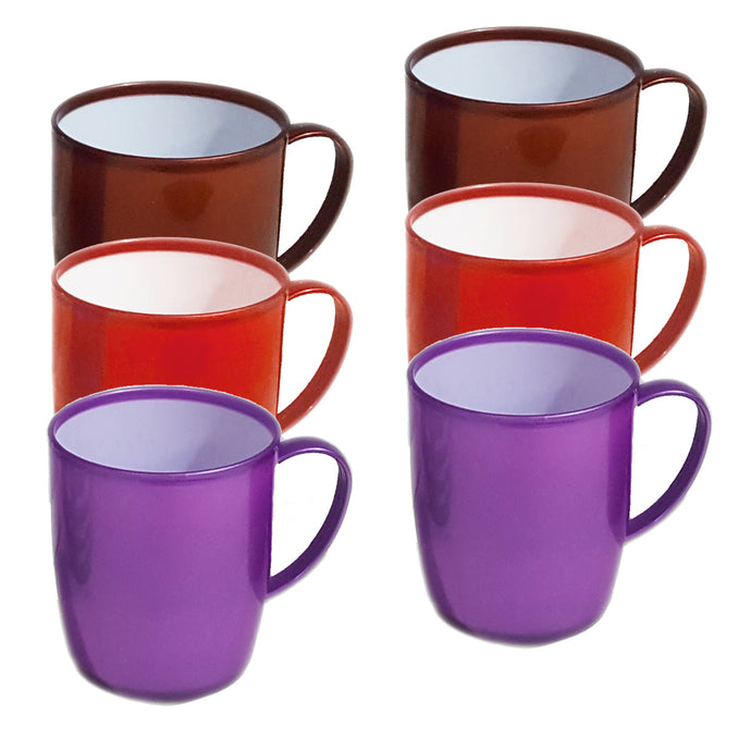 PACK OF 6 COLOURFUL PLASTIC MUGS - Red, Brown & Purple