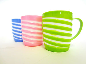 PACK OF 6 COLOURFUL STRIPED PLASTIC MUGS - Blue, Green & Pink