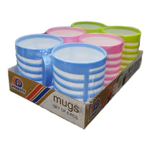 Load image into Gallery viewer, PACK OF 6 COLOURFUL STRIPED PLASTIC MUGS - Blue, Green & Pink