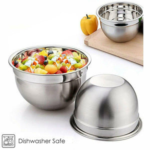 3 Piece Stainless Steel Deep Mixing Bowl Set 18/22/26cm