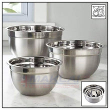 Load image into Gallery viewer, 3 Piece Stainless Steel Deep Mixing Bowl Set 18/22/26cm