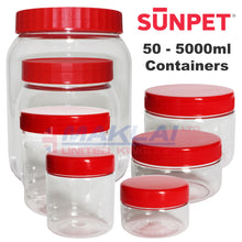 Load image into Gallery viewer, Sunpet Round Plastic Storage Jars with Red Lids