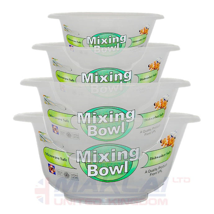 Set of 4 Clear Plastic Mixing Bowls