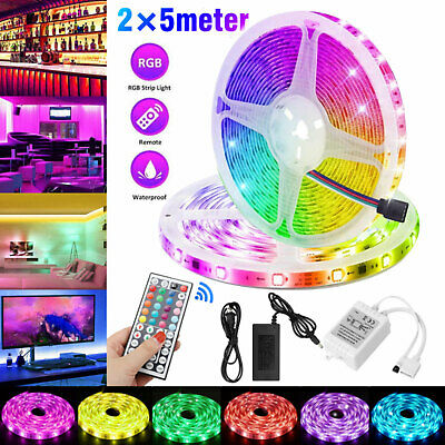 10M 32FT 3528 SMD RGB 600LEDs LED Light Strip 12V Power +44Key IR Remote Control