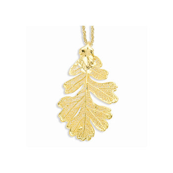 24k Gold Dipped Oak Leaf w/ Gold-plated Chain