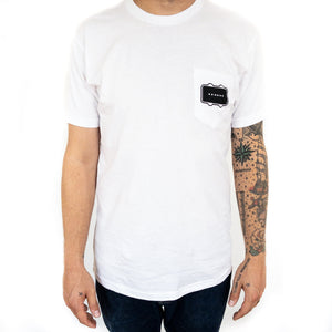 Black Bobbin Logo Pocket Tee White