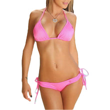 Load image into Gallery viewer, Solid Color Halter Bandage Women Summer Bikini Set Two-piece Swimsuit Swimwear