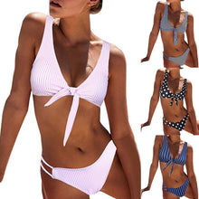 Load image into Gallery viewer, Sexy Striped Dots Knotted Summer Bikini Set Women Two-piece Swimsuit Swimwear