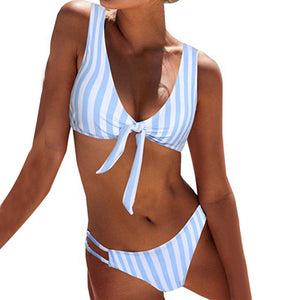 Sexy Striped Dots Knotted Summer Bikini Set Women Two-piece Swimsuit Swimwear