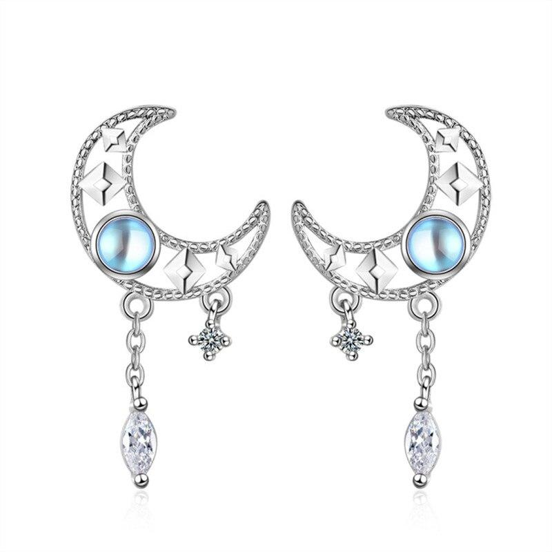 925 Solid Sterling Silver Tassel Moon Drop Earring For Women Girls Teen Brincos Female pendientes - ladystreets