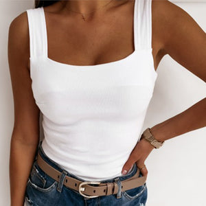 Summer Elegant Ruffle Strap Shirt Blouse Sexy Sleeveless Backless Ribbed Shirts Casual Women Square Collar Slim Knit Tops Blusa