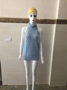New Autumn Virgin Killer Sweater Women Turtleneck Pullover Sleeveless Sexy Backless Knitted Sweaters Female Jumper